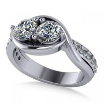 Diamond Accented Bypass Two Stone Ring 14k White Gold (1.50ct)