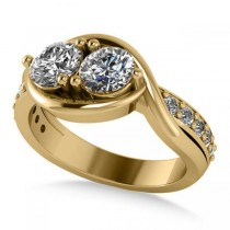 Diamond Accented Bypass Two Stone Ring 14k Yellow Gold (1.50ct)