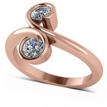 Diamond Solitaire Two Stone Swirl Ring 14k Rose Gold (0.50ct)