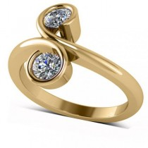 Diamond Solitaire Two Stone Swirl Ring 14k Yellow Gold (0.50ct)