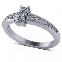 Diamond Accented Two Stone Ring 14k White Gold (0.51ct)