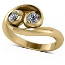 Diamond Solitaire Swirl Two Stone Ring 14k Yellow Gold (0.50ct)