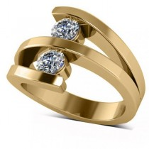 Diamond Triple Shank Two Stone Ring 14k Yellow Gold (0.66ct)