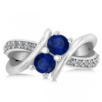 Blue Sapphire Diamond Bypass Split Two Stone Ring 14k White Gold (1.28ct)