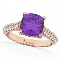 Cushion Cut Amethyst & Diamond Engagement Ring 18k Rose Gold (4.42ct)