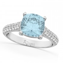 Cushion Cut Aquamarine & Diamond Engagement Ring 14k White Gold (4.42ct)