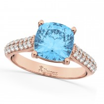 Cushion Cut Blue Topaz & Diamond Ring 14k Rose Gold (4.42ct)