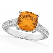Cushion Cut Citrine & Diamond Ring 14k White Gold (4.42ct)
