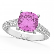 Cushion Cut Pink Sapphire & Diamond Ring 18k White Gold (4.42ct)