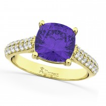 Cushion Cut Tanzanite & Diamond Ring 14k Yellow Gold (4.42ct)