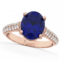 Oval Blue Sapphire & Diamond Engagement Ring 14k Rose Gold (4.42ct)