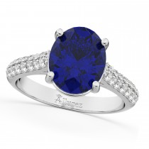 Oval Blue Sapphire & Diamond Engagement Ring 14k White Gold (4.42ct)