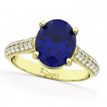 Oval Blue Sapphire & Diamond Engagement Ring 14k Yellow Gold (4.42ct)