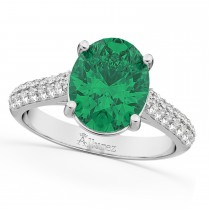 Oval Emerald & Diamond Engagement Ring 14k White Gold (4.42ct)