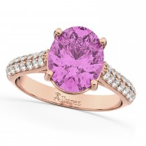 Oval Pink Sapphire & Diamond Engagement Ring 18k Rose Gold (4.42ct)