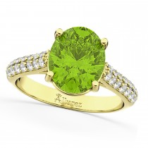Oval Peridot & Diamond Engagement Ring 18k Yellow Gold (4.42ct)