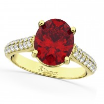 Oval Ruby & Diamond Engagement Ring 14k Yellow Gold (4.42ct)