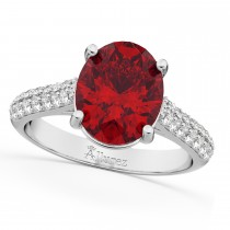 Oval Ruby & Diamond Engagement Ring 18k White Gold (4.42ct)