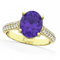 Oval Tanzanite & Diamond Engagement Ring 18k Yellow Gold (4.42ct)