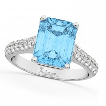 Emerald-Cut Blue Topaz and Diamond Ring 14k White Gold (5.542ct)