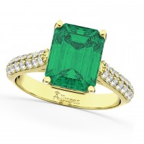 Emerald-Cut Emerald & Diamond Engagement Ring 14k Yellow Gold (5.54ct)