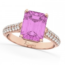 Emerald-Cut Pink Sapphire & Diamond Ring 14k Rose Gold (5.54ct)