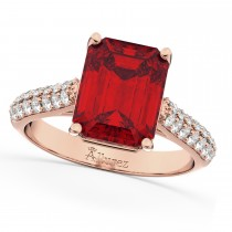 Emerald-Cut Ruby & Diamond Engagement Ring 14k Rose Gold (5.54ct)