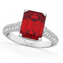 Emerald-Cut Ruby and Diamond Engagement Ring 18k White Gold (5.542ct)