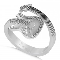 Diamond Accented Guitar Music Fashion Ring 14k White Gold (0.07ct)