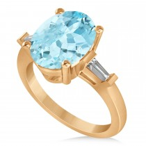 Oval & Baguette Cut Aquamarine Engagement Ring 14k Rose Gold (3.30ct)