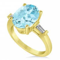 Oval & Baguette Cut Aquamarine Engagement Ring 14k Yellow Gold (3.30ct)