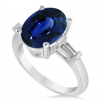 Oval & Baguette Cut Blue Sapphire Engagement Ring 14k White Gold (3.30ct)