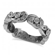 Diamond Vine Leaf Style Floral Wedding Band 14k White Gold (0.27ct)