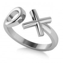 """Ladies' Novelty Hugs and Kisses """"XO"""" Fashion Ring in 14k White Gold"""
