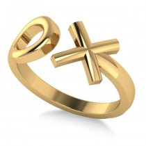 """Ladies' Novelty Hugs and Kisses """"XO"""" Fashion Ring in 14k Yellow Gold"""