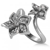 Diamond Double Flower Bypass Ladies Ring 14k White Gold (0.48ct)