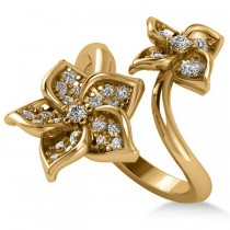 Diamond Double Flower Bypass Ladies Ring 14k Yellow Gold (0.48ct)
