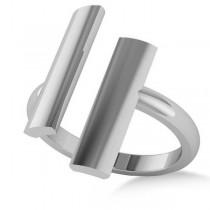 Bar Fashion Novelty Ladies Ring 14k White Gold