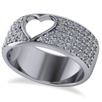 Open Heart Wide Band Pave Diamond Ring 14k White Gold (1.00ct)