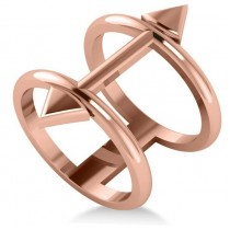 Cupid's Arrow Abstract Fashion Ring Plain Metal 14k Rose Gold