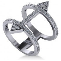 Abstract Arrow Ring with Diamond Accents 14k White Gold (0.55ct)