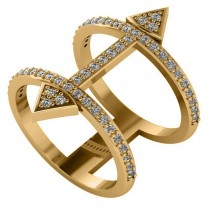 Abstract Arrow Ring with Diamond Accents 14k Yellow Gold (0.55ct)