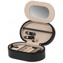 Women's Oval Zippered Travel Jewelry Case w/ Mirror & Removable Tray