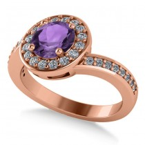 Round Amethyst Halo Engagement Ring 14k Rose Gold (1.40ct)