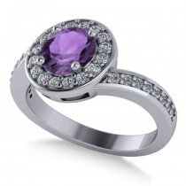 Round Amethyst Halo Engagement Ring 14k White Gold (1.40ct)