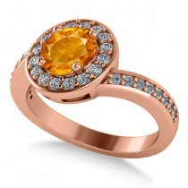 Round Citrine Halo Engagement Ring 14k Rose Gold (1.40ct)