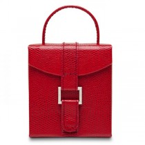 Women's Mini Red Faux Leather Travel Jewelry Organizer with Handle
