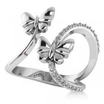 Diamond Accented Double Butterfly Fashion Ring 14k White Gold (0.23ct)