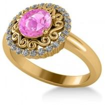 Pink Sapphire & Diamond Halo Engagement Ring 14k Yellow Gold (1.24ct)