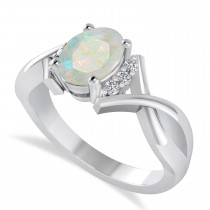 Oval Cut Opal & Diamond Engagement Ring With Split Shank 14k White Gold (1.69ct)